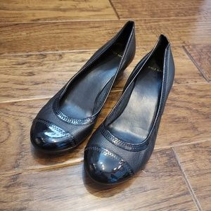 Cole Haan Patent Cap Toe Leather Low Wedges - 8B